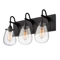 Item Chelsea Satin Black 19.25-Inch Three Light Bath Fixture with Clear Glass