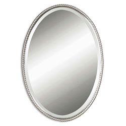 Item Sherise Brushed Nickel Oval Mirror