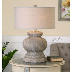 Uttermost Verdello Antique Stone Ivory One Light Table