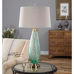 Uttermost Lenado Sea Green Glass One Light Table Lamp