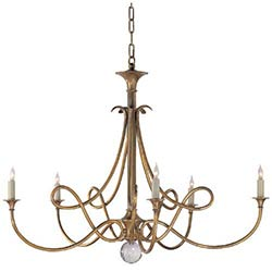 Item Antique Brass Double Twist Five-Light Chandelier