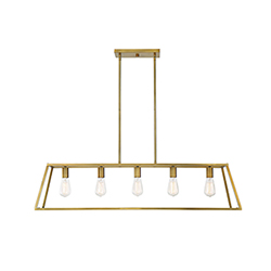 Item Denton Warm Brass Five-Light Linear Chandelier