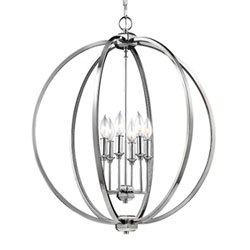 Item Monticello Polished Nickel Six-Light Chandelier