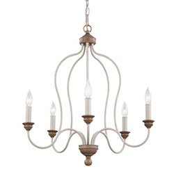 Item Cecilia White Washed Five-Light Chandelier