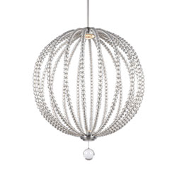 Item Cristalina Satin Nickel 32-Inch LED Globe Pendant