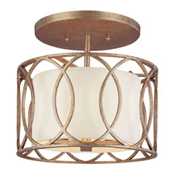 Item Coco Silver Gold Three-Light Drum Semi-Flush Mount