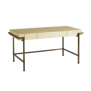 Studio Designs White and Brass Parchment Writing Desk
