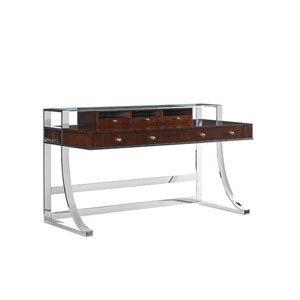 Studio Designs Stainless Steel and Brown Andrea Writing Desk