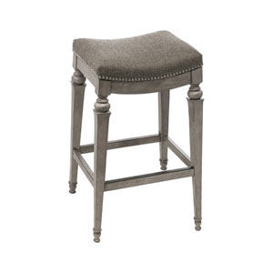 Vetrina Gray Backless Non-Swivel Bar Stool with Grey Fabric