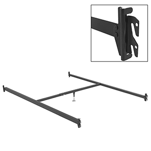 Full XL/Queen 81-Inch 81-1H Black Bed Frame Side Rails with Hook-On Brackets and Adjustable Center Support for Headboards and