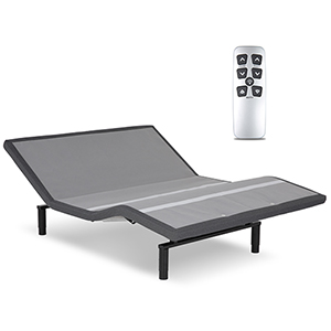 Falcon 2.0 Queen Charcoal Gray Low-Profile Adjustable Bed Base with Simultaneous Movement and Under-Bed Lighting