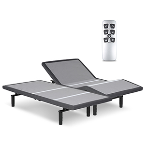 Falcon 2.0 Split California King Charcoal Gray Low-Profile Adjustable Bed Base with Simultaneous Movement and Under-Bed