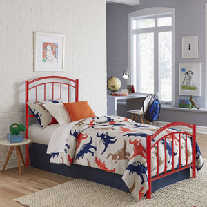 Rylan Tomato Red Twin Complete Kids Bed with Metal Duo Panels