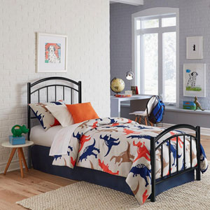 Rylan Black Ink Twin Complete Kids Bed with Metal Duo Panels