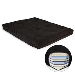 Black 8-Inch Futon Mattress with Multi-Layer Cotton and Foam Core