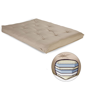 Khaki 8-Inch Futon Mattress with Multi-Layer Cotton and Foam Core