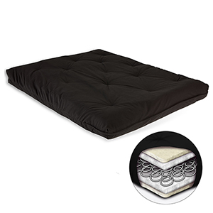 Black 8-Inch Futon Mattress with Multi-Layer Innerspring Core