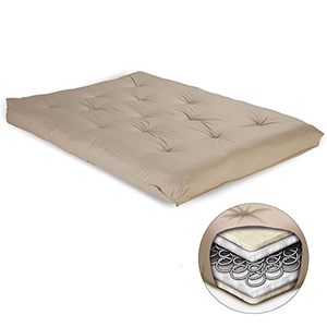 Khaki 8-Inch Futon Mattress with Multi-Layer Innerspring Core