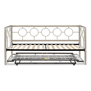 Astoria Champagne Twin Complete Metal Daybed with Euro Top Deck and Trundle Bed Pop-Up Frame