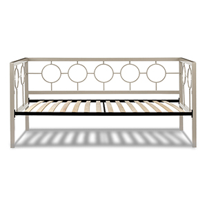 Astoria Champagne Twin Complete Metal Daybed with Circle Design Panels and Euro Top Deck