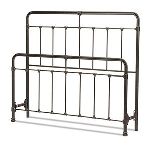 Fairfield Dark Roast Queen Bed with Metal Panels and Castings