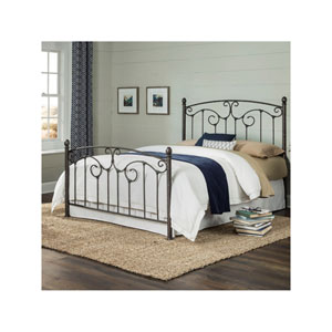 Hinsdale Antiqued Pewter Queen Metal Bed with Sloping Top Rails and Vertical Spindles