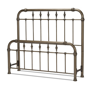Vienna Aged Gold California King Bed with Metal Panels and Carved Finials