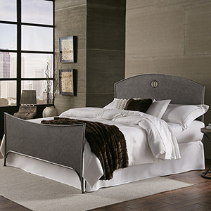 Barrington Silver Bisque Metal King Bed with Industrial Circular Designed Headboard and Footboard