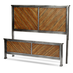 Braden Rustic Tobacco Queen Bed with Metal Panels and Reclaimed Wood Design