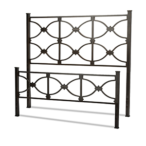 Marlo Burnished Black Queen Bed with Metal Panels and Squared Finial Posts