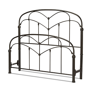 Pomona Hazelnut King Bed with Arched Metal Grills and Detailed Posts