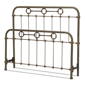 Madera Rustic Green King Bed with Metal Panels and Brass Plated Designs