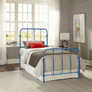 Nolan Cobalt Blue Kids Full Bed with Metal Duo Panels
