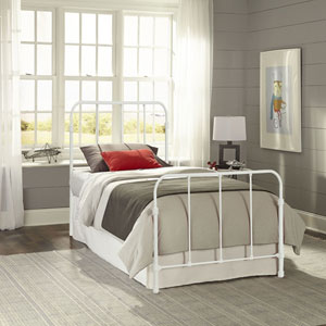 Nolan Artic White Kids Twin Bed with Metal Duo Panels
