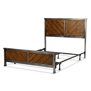 Braden Rustic Tobacco Complete Queen Bed with Metal Panels and Reclaimed Wood Design