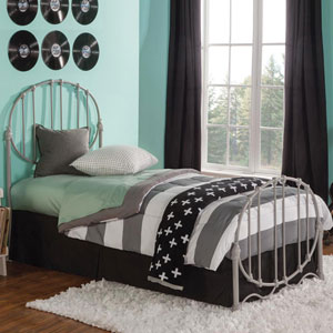 Emory Gray Twin Complete Kids Bed with Metal Duo Panels and Oval Shape Design