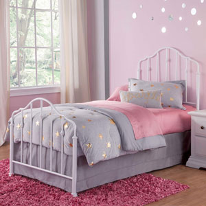 Lorna Warm White Twin Complete Kids Bed with Metal Duo Panels and Accented Spindles