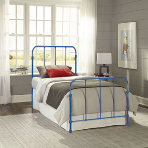 Nolan Cobalt Blue Full Complete Kids Bed with Metal Duo Panels