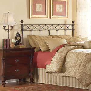 Argyle Copper Chrome California King Headboard with Round Finial Posts and Diamond Wire Metal Grill Design