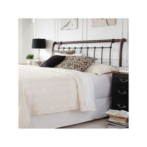 Legion Ancient Gold Metal California King Headboard with Sleigh Design and Twisted Rope Top Rail