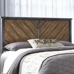 Braden Rustic Tobacco Metal Queen Headboard Panel with Reclaimed Wood Design