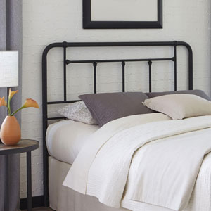 Baldwin Textured Black Metal Twin Headboard with Detailed Castings
