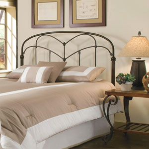 Pomona Hazelnut California King Headboard with Arched Metal Grill and Detailed Posts