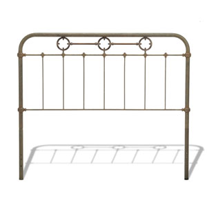 Madera Rustic Green Metal Queen Headboard Panel with Brass Plated Designs and Castings