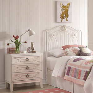 Kaylin Soft White Kids Twin Metal Headboard Panel with Medallions Accents