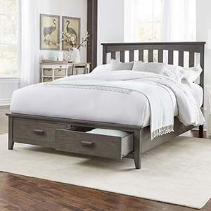 Hampton Beachwood Gray California King Storage Bed with Solid Wood Frame and  Two Footboard Drawers