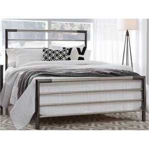 Kenton Chrome and Black Nickel Queen Metal Bed with Horizontal Bar Design