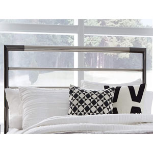 Kenton Chrome and Black Nickel Metal King Headboard with Horizontal Bar Design