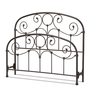 Grafton Rusty Gold Queen Bed with Metal Scrollwork Panels and Decorative Castings