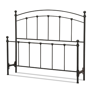 Sanford Matte Black Queen Bed with Metal Panels and Round Finial Posts